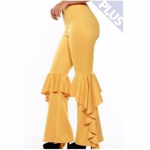 Pants - Plus Hippie Yellow Ruffle Wide Bell Bottom Pants