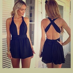 Pants - Black Multiway Romper Size Small