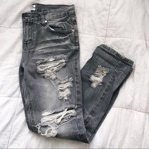 One Teaspoon Gray Distressed Boyfriend Jeans