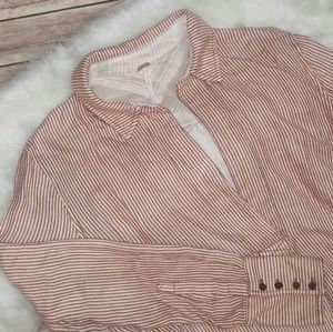 Free People Pink 'On The Road' Stripe Tunic Top