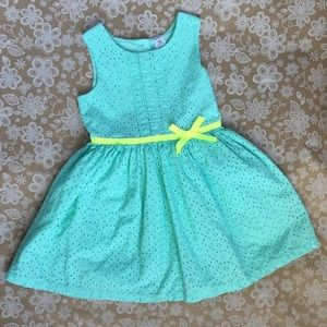 Carter's Turquoise Eyelet dress with yellow bow