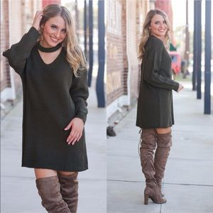 Olive choker style oversized sweater dress