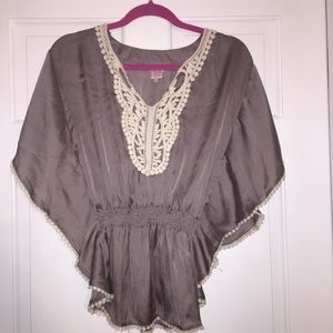 Tops - Grey Silk Blouse with crochet detail