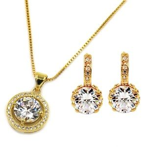 Shining bright crystal necklace earrings set