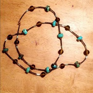 Elegant a brown and Turquoise necklace :)