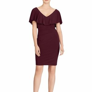 Lauren Ralph Lauren Ruffle Jersey Dress Red Size 8