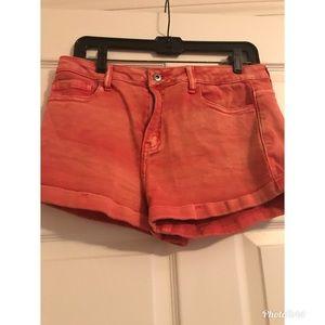 Orange Denim Shorts