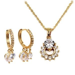 Luxury Crystal Necklace Earrings Gold Set