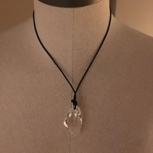 Swarovski crystal leather and crystal necklace
