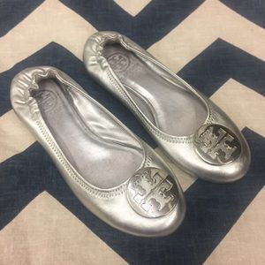 Tory Burch Reva Ballet Flats Metallic Silver