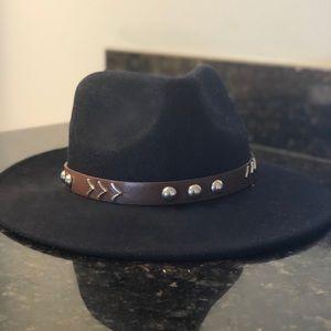 Wool Felt Navy Wide Brim Topshop Hat