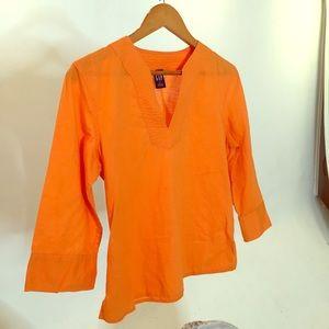 GAP Boho Tangerine Linen Soft Sturdy Top New! M