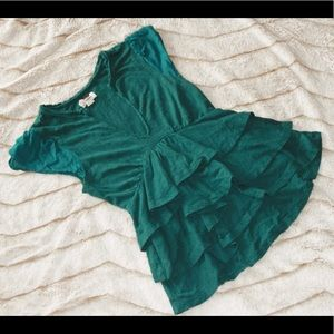 Urban Outfitters Green Ruffle Blouse