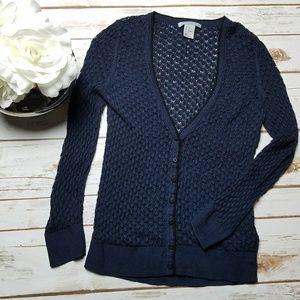 H&M Dark Navy Blue Button Cardigan Size X-Small