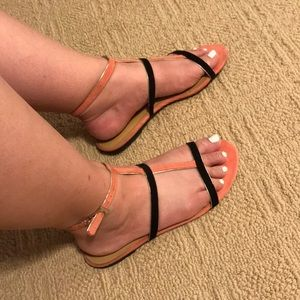 Peach and Black Sandals with gold accents