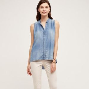 ANTHROPOLOGIE Chambray Cloth & Stone Tank Top