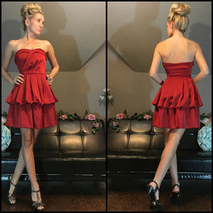 Eva Franco Strapless Couture Red Party Dress