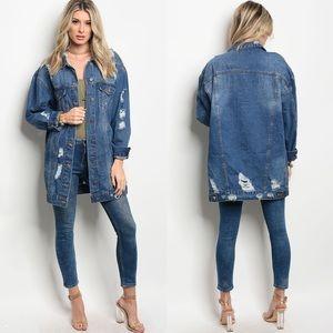 Jackets & Blazers - Over Sized Distressed Denim Jacket |