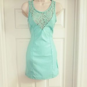Pale Turquoise PU Leather Lace Dress🎉NWOT