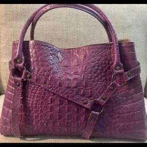 T Bags Los Angeles mauve embossed leather satchel.
