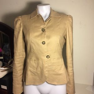 Banana Republic Linen Cotton Tan Blazer Jacket S 4