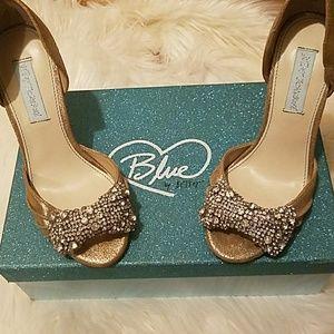 Betsy Johnson Rhinestone Bow Heels