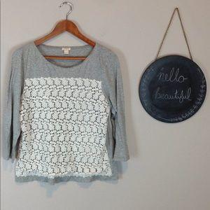 J. Crew Factory Floral Crochet Front T Shirt Large