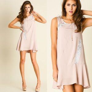 UMGEE Pink White Lace Dress Sleeveless Tunic