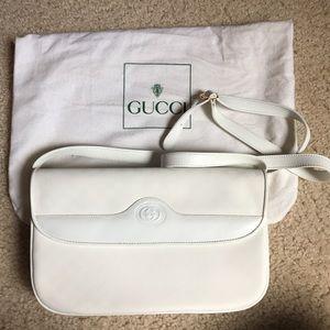 Gucci vintage white leather handbag, authentic!