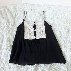 Theory black tank top with lace