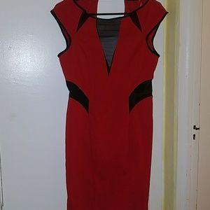 Miss Selfridge Red Mesh Peek A Boo Dress