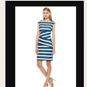 Anne Klein banded texture strip dress