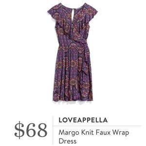 Loveappella Margo Knit Faux Wrap Dress Large