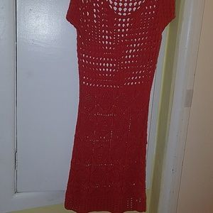 Coral Crochet Style Dress
