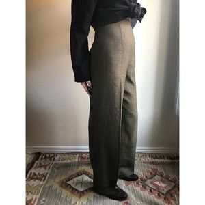 [vintage] 100% wool high waist taupe trousers