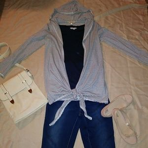 PIKO 1988 Striped Gray and White Open Cardigan