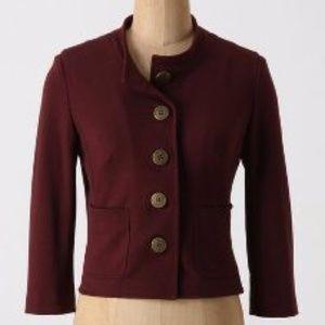 [Anthropologie] Maroon Cropped Knit Blazer