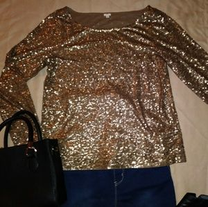 J.Crew Bronze/Dark Gold Party Sequin Top