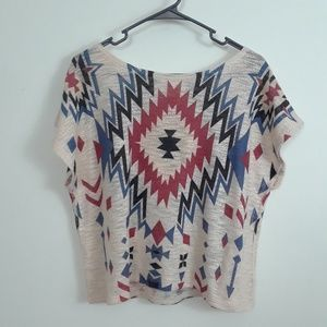 GINGER G TRIBAL PRINT BOXY KNIT TOP