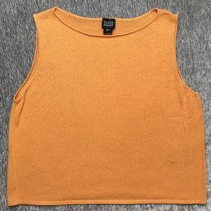 Eileen Fisher Orange Knit Sweater Top Tank Shirt