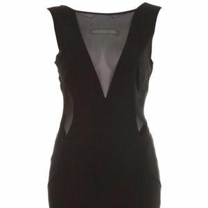 Miss Selfridge Black Bengaline Mesh Dress