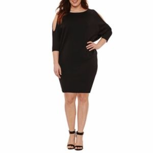 Cold Shoulder 3/4 Sleeve Bodycon Dress  Plus Size