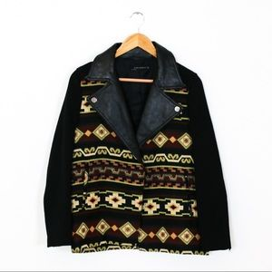 Zara Aztec Leather Collar Jacket