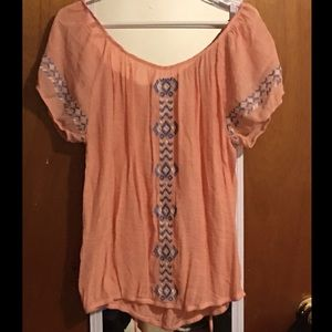 Boho style embroidery blouse
