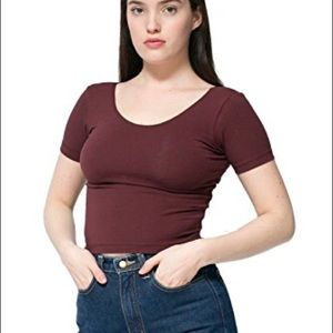 AA Cotton Spandex Crop Top in Maroon