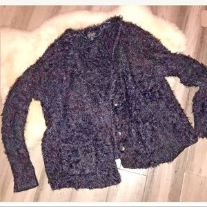 Topshop Navy Fuzzy Long Sleeve Cardigan Sweater 8