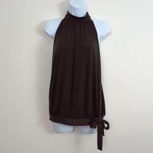 D.F.A NEW YORK BROWN MOCK NECK SLEEVELESS TOP