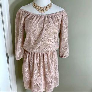 Heart Soul Off the Shoulder Romper Lace Dress