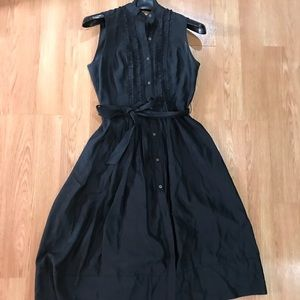 BR silk shantung pinstripe dress with ruffles