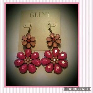 Large pink flower Dangle Drop Earrings